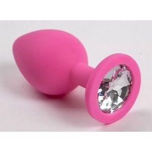 Розовая силиконовая анальная пробочка с прозрачным кристаллом - 7 см.