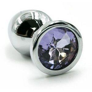 Серебристая алюминиевая анальная пробка с светло-фиолетовым кристаллом - 6 см.