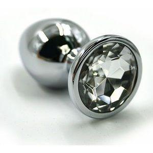 Серебристая алюминиевая пробка с прозрачным кристаллом - 8,4 см.
