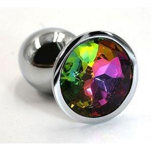 Серебристая алюминиевая анальная пробка с радужным кристаллом - 7 см.