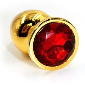 Золотистая алюминиевая анальная пробка с красным кристаллом - 6 см.