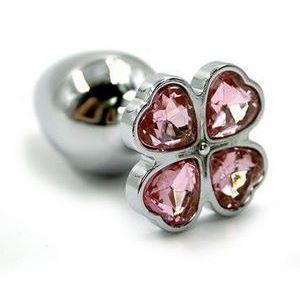 Серебристая анальная пробка с светло-розовым цветком из кристаллов - 6 см.