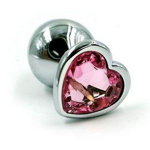Серебристая анальная пробка с нежно-розовым кристаллом-сердцем - 7 см.