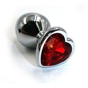Серебристая анальная пробка с красным кристаллом-сердцем - 7 см.