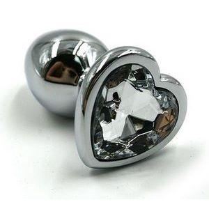 Серебристая анальная пробка с прозрачным сердцем-кристаллом - 6 см.