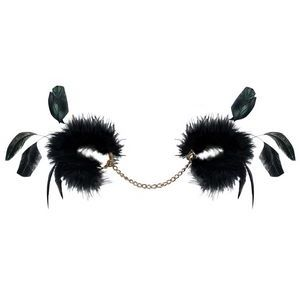 Чёрные пуховые наручники