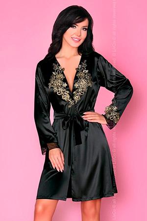 Пеньюар Natasha с золотистой вышивкой на груди и рукавах