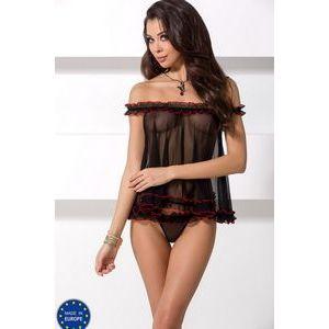 Коротенькая сорочка Margarida с открытыми плечами и рюшевой отделкой