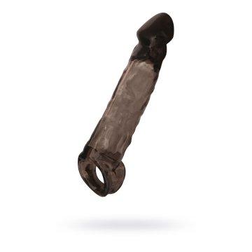 Чёрная насадка на пенис Tс подхватом - 19,5 см.