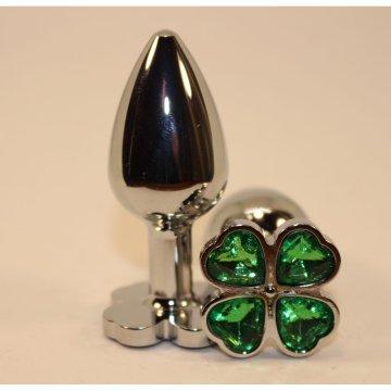 Серебристая пробка с цветком из зеленых сердечек - 7 см.