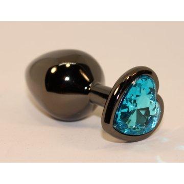 Чёрная пробка с голубым сердцем-кристаллом - 7 см.