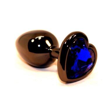 Чёрная пробка с синим сердцем-кристаллом - 7 см.