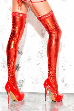 Чулки wet-look с открытой пяткой и носком