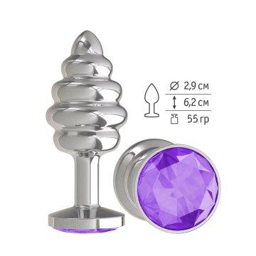 Серебристая пробка с рёбрышками и фиолетовым кристаллом - 7 см.
