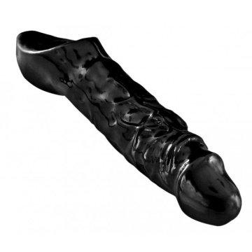 Чёрная увеличивающая насадка на член Mamba Cock Sheath Packaged - 16,5 см.
