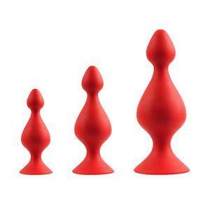 Набор из 3 красных анальных силиконовых втулок MENZSTUFF 3-PIECE ANAL PAWN SET