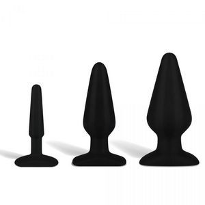 Набор из 3 черных анальных плагов из силикона