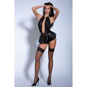 Ультра короткое платье с лаковой юбкой